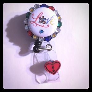 Love autism badge holder