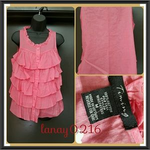 Red Pink Ruffles Top NWT M
