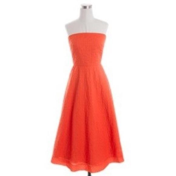 80% off J. Crew Dresses & Skirts - J. Crew orange strapless dress ...