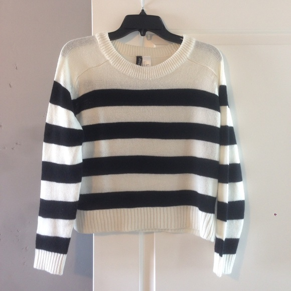 53% off H&M Sweaters - H&M cropped black   white striped sweater ...