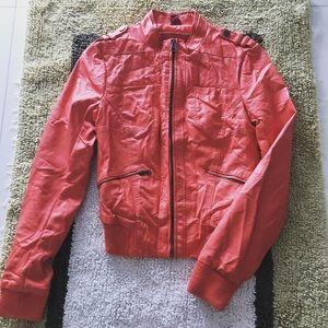 Orange fusion leather jacket