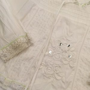 Free People Embroidered White Cotton Boho Top