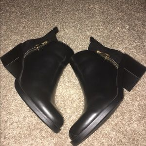 Zara black bootie with gold zipper SZ 9