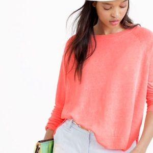Neon coral j. Crew linen summer sweater