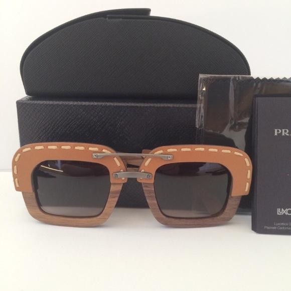 6f143d31fa Prada leather wood sunglasses