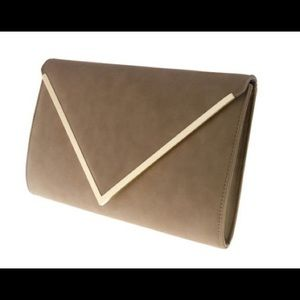 Tan also clutch with gold chain option