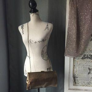 Gunne Sax Handbags - Gunne Sax by Jessica McClintock bronze clutch NWT
