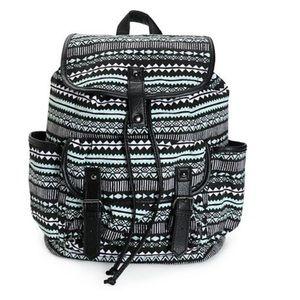 Handbags - Mint and Black Print w Black Trim Backpack. NWT.