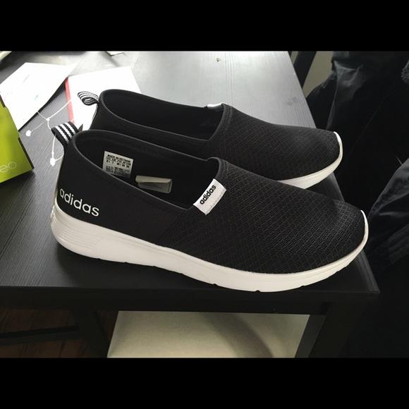 adidas neo women's gray & black cloudfoam lite racer slip ons