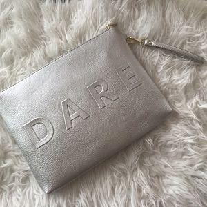 Handbags - Silver metallic truth or dare clutch bag purse