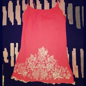 Coral Embroidered Halter Top
