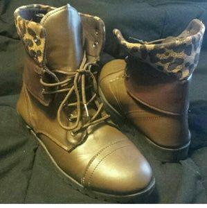 Brown Cheetah Print Combat Boots