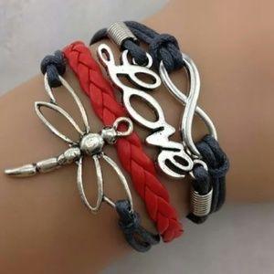 Jewelry - Black & Red Leather Bracelet