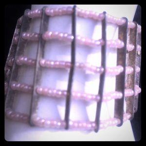 Jewelry - Pink beaded cuff bracelet