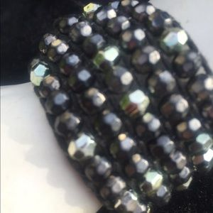 Jewelry - Black and silver beaded cuff bracelet