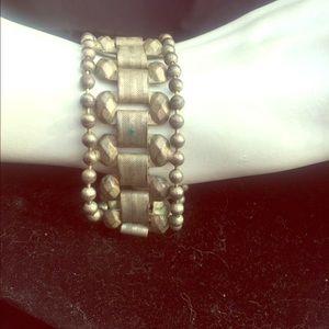 Jewelry - Silvertone link cuff bracelet