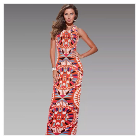 57% off Boutique Dresses & Skirts - Fabulous orange print maxi ...