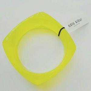 Adia Kibur Jewelry - Translucent Neon Yellow Resin Bangle