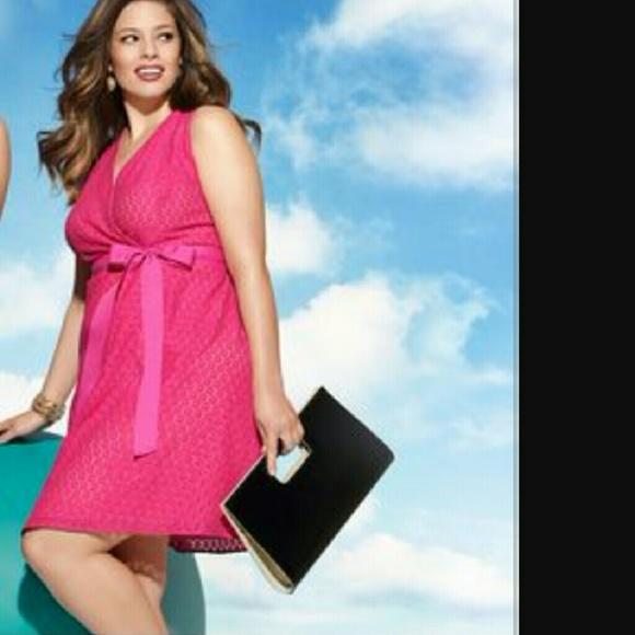 Lane Bryant Plus Size 18 Fuchsia Pink Lace Dress