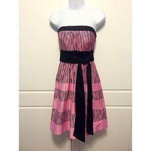 Max & Cleo Pink and Black Striped Cotton Dress