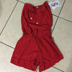 Other - Red strapless romper XS/Sm NWT