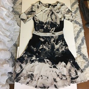Dark floral dress with flare skirt