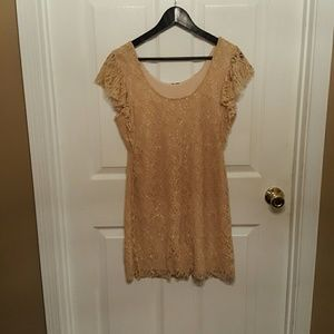 Dresses & Skirts - Taupe or nude colored lace dress