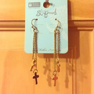 Jewelry - New!! Dangling gold cross earrings