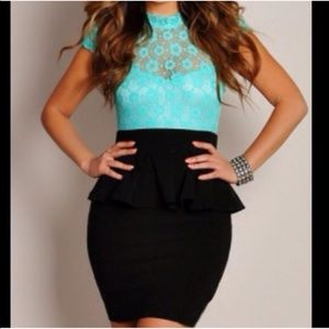Aqua Peplum Dress