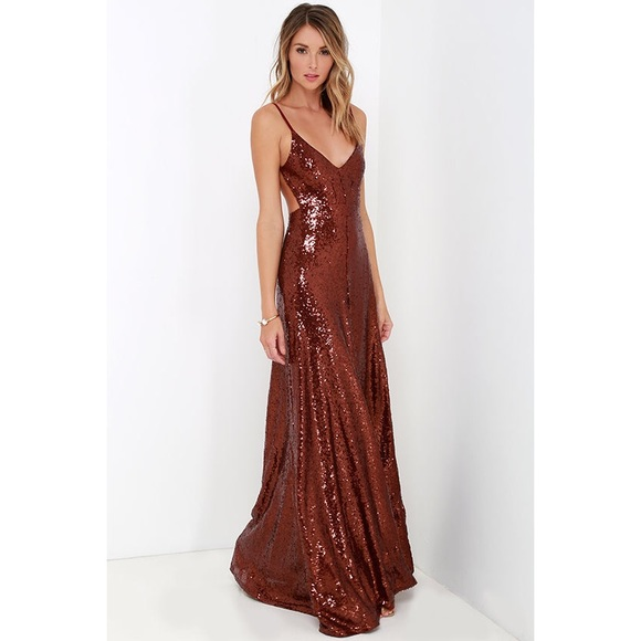 24% off Lulu\'s Dresses & Skirts - Red Wine Sequin Maxi Dress from ...