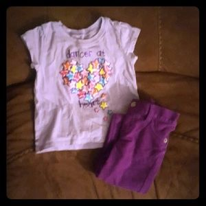 Other - 18 month cute purple outfit (shirt and Jennings)