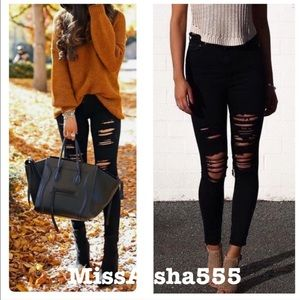 Denim - Black best fitted shredded jeans RESTOCKED