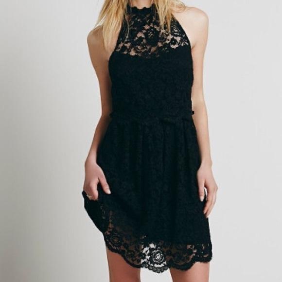 Black Cut Out Back Lace Dress Nwt