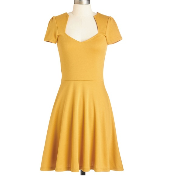 08501a61eac ModCloth Rock Steady Honey Mustard Yellow Dress S