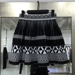 Inca stretch mini flared skirt black and white