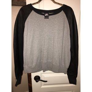 Nike sportswear leather sleeved sweatshirt