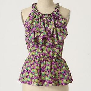 Anthropologie Transposed Tulips Top
