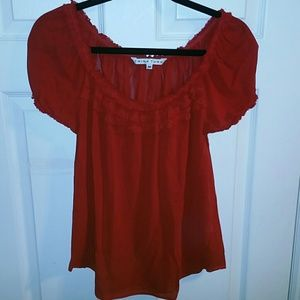 TRINA TURK RUFFLE ACCENT CAP SLEEVE RED BLOUSE EUC