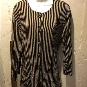 Awesome Vintage Striped Blazer Tunic Large