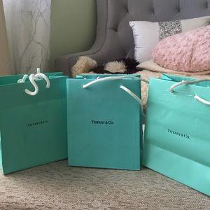 Three small Tiffany & Co. Shopping bags