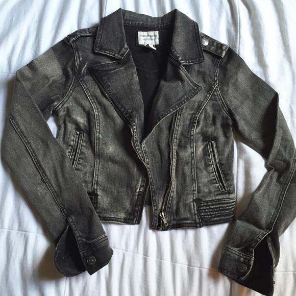 classic styles utterly stylish 2019 factory price Faded black denim moto jacket