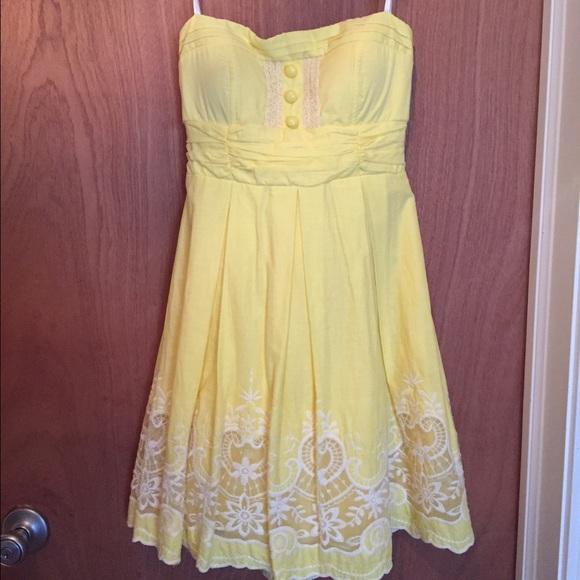Yellow Strapless Summer Dress