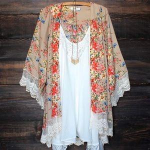 Boho floral print chiffon kimono shawl