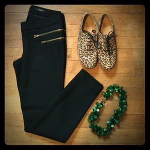 J Crew black wool stretch Minnie pant 00 gold zip