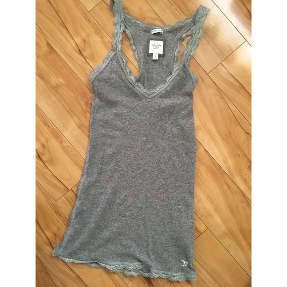 cf21b783bc194 Abercrombie   Fitch Tops - Abercrombie   Fitch Gray Ribbed Tank w Lace ...