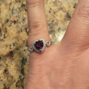 Jewelry - 18k Wkgp/.925 SS Heart amethyst & diamond ring