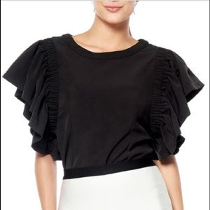 Gracia  gather frill sleeve top