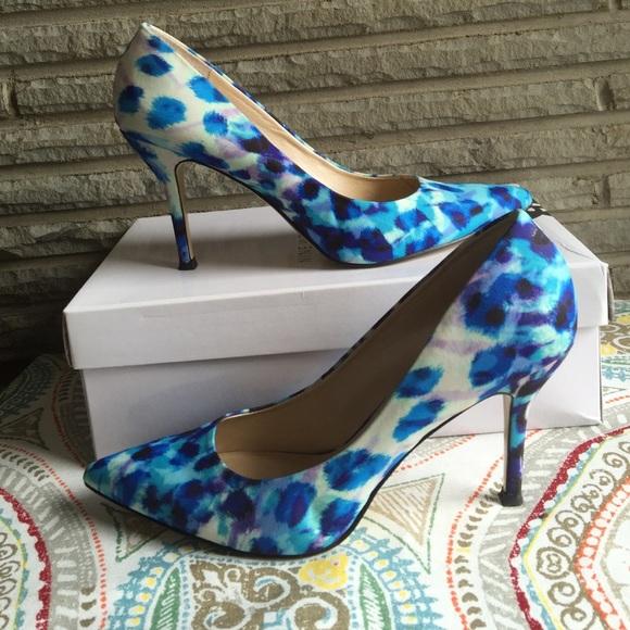 Nine West Shoes Blue Patterned Heels Poshmark Stunning Patterned Heels