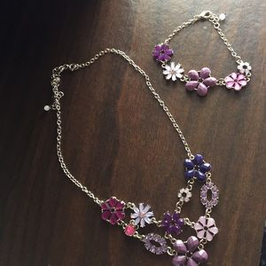 Purple necklace and bracelet set