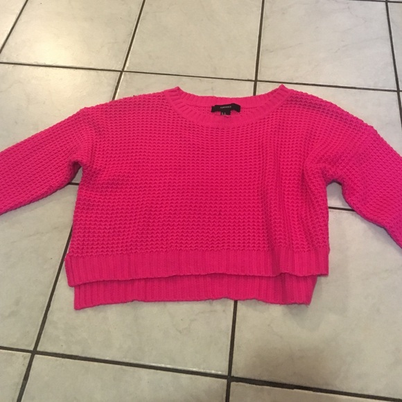 60% off Forever 21 Sweaters - Hot pink cropped sweater from Kyla's ...